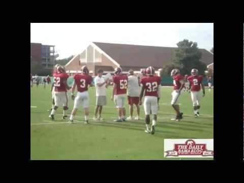 Injured C.J. Mosley at Alabama football practice