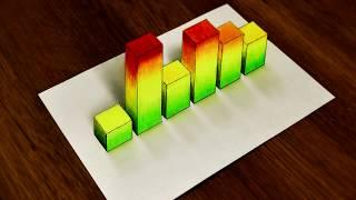 3D Рисунок Шкала Эквалайзера Как нарисовать Иллюзию 3D drawing scale Equalizer how to draw Illusion