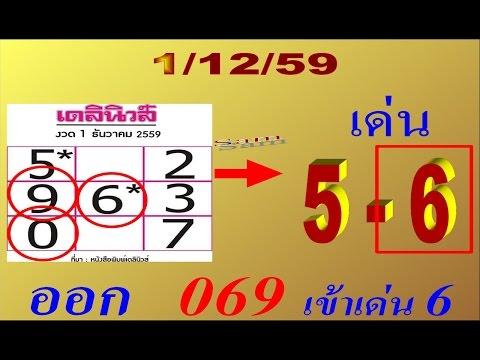 เลขเด็ด เดลินิวส์ 16/12/59 งวดก่อน มาครบ3ตัว เต็มๆ 069