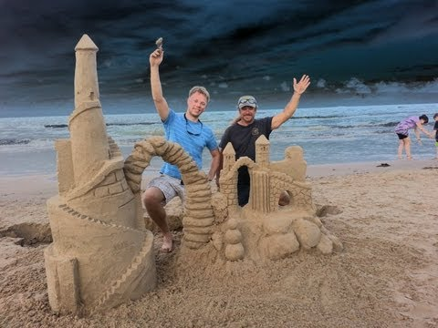 Building Sand Castle on South Padre Island Texas.