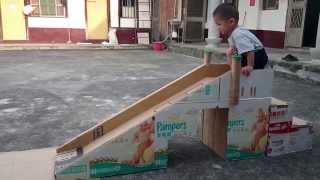 溜滑梯【紙箱板製作】第1集_柏瑞(2歲半)_老婆大人DIY製作