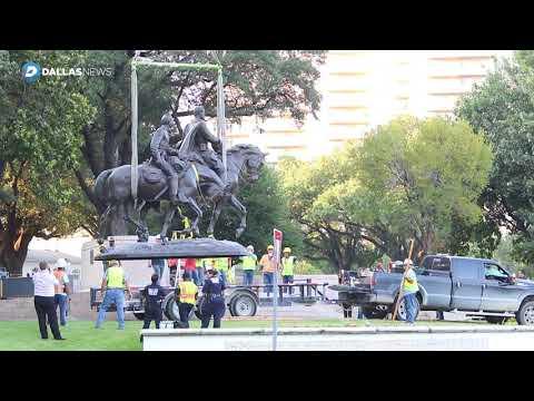 Watch crane removes Robert E. Lee statue from Dallas park