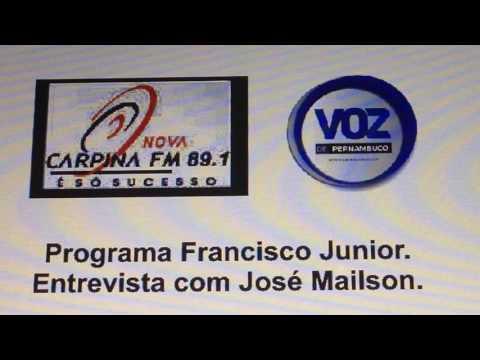 Carlos Gomes entrevistado por José Mailson - Rádio Nova Carpina FM 891