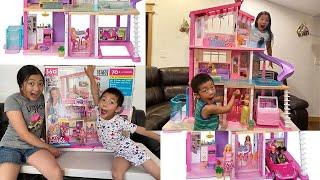 Barbie Dreamhouse Dollhouse with Pool, Slide and Elevator!!-kidsworld: Jashune\u0026Jayden(2020 unboxing)