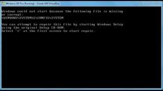 Windows\System32\Config\System missing or corrupt fix