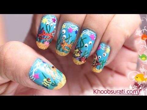 Aquarium Nail Art Design By Khoobsurati