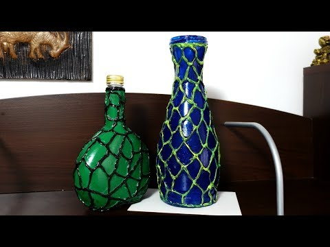 DECORATE BOTTLES WITH HOT GLUE GUN | RECYLED ROOM DECOR DIY | MAISON ZIZOU