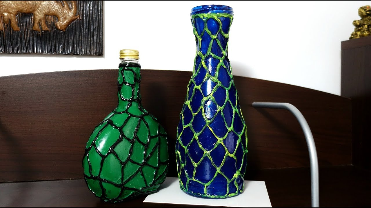Decorate Bottles With Hot Glue Gun Recyled Room Decor