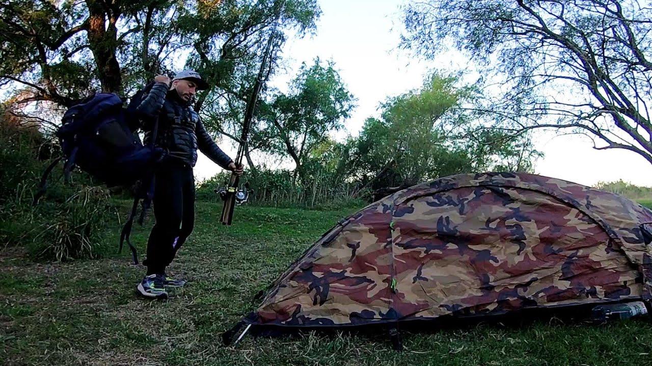 """Acampando, PESCA Y COCINA, """"Pescado asado"""", naturaleza y animalitos  PESCA URBANA #acampar"""
