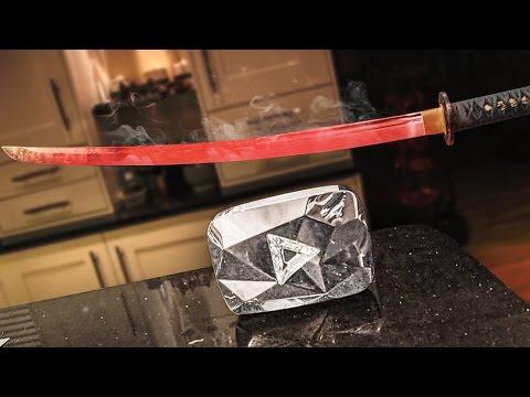 EXPERIMENT Glowing 1000 degree KATANA VS 10 MILLION SUBSCRIBER PLAQUE