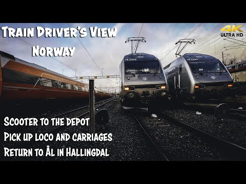 TRAIN DRIVER'S VIEW: Scooter To Depot And Hauling From Oslo To Ål