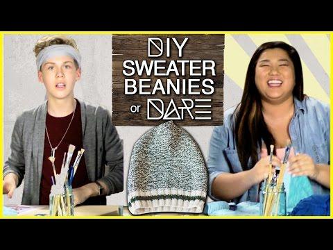 DIY Beanie From A Sweater?!  DIDare w MissRemiAshten & Aidan Alexander