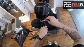 Razor Haircut on a Medium Length Bob Step by Step Makeover