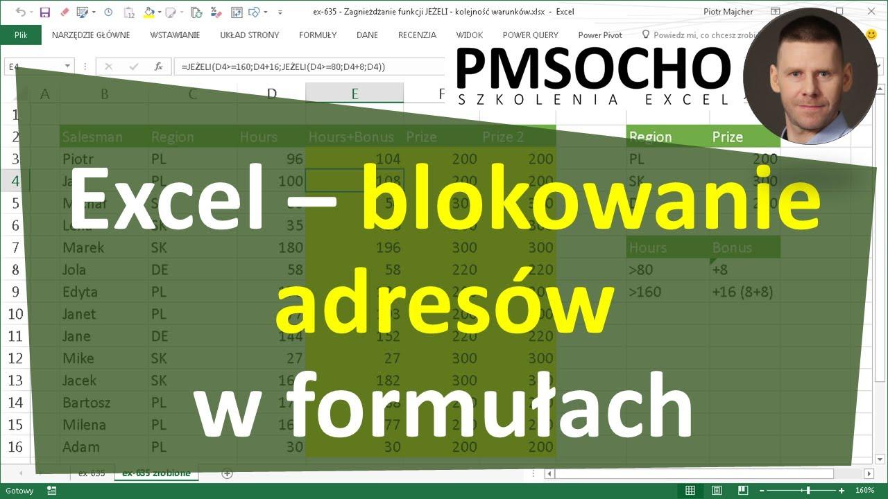 Excel Blokowanie Adresów W Formułach