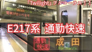 【E217系 通勤快速】東京駅 接近案内~発車!発車メロディフルコーラス!!(Twilight)