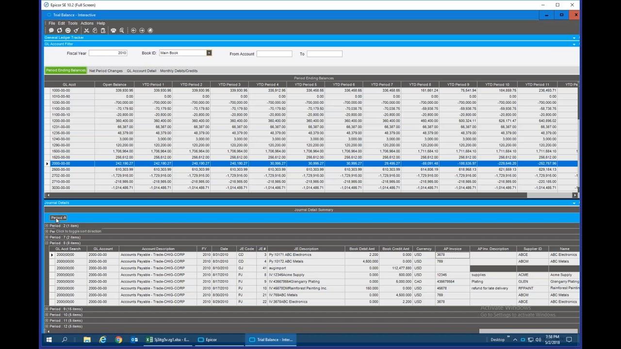 Epicor 10 2 Interactive Trial Balance Dashboard Demo