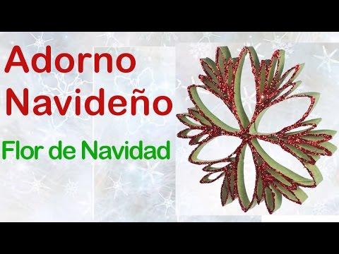 Flor de Navidad con tubos de papel higinico Manualidades de Lina