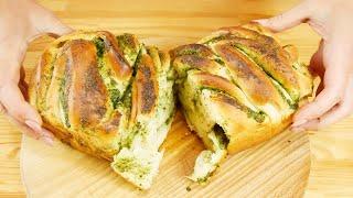 Домашнии хлеб с чесноком и зеленью Чесночныи пирог