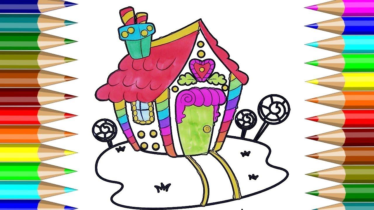 Casa Para Colorear | Cómo dibujar Casa, Casa de pan de jengibre ...