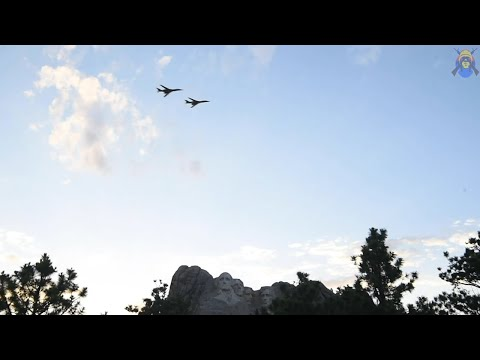 Blue Angels F/A-18 Hornets fly over Mount Rushmore during a Salute to America celebration 07.03.2020