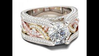 Jeulia Twist Three Tone Round Cut Created White Sapphire Engagement Ring SKU: EG6C020