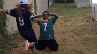Eagles Fan Gets Kicked In The Nuts By After Losing Bet To His Wife (Cowboys Fan)