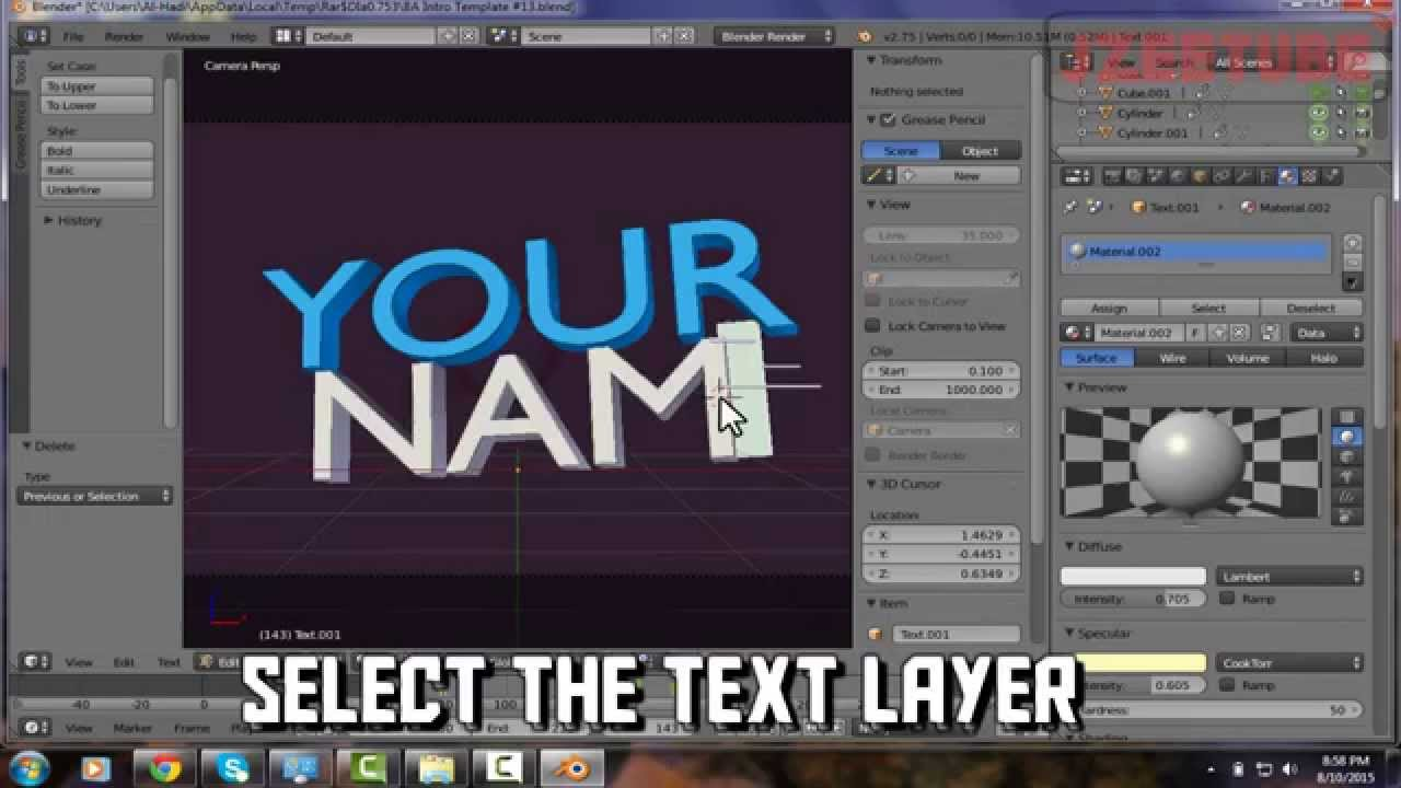 How To Change the Color And Font Of Blender Intros Templates For ...
