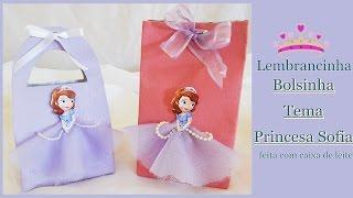 Lembrancinha Bolsinha feita com caixa de Leite- Tema Princesa Sofia