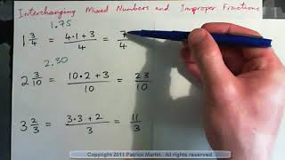 Interchange Mixed Numbers and Improper fractions