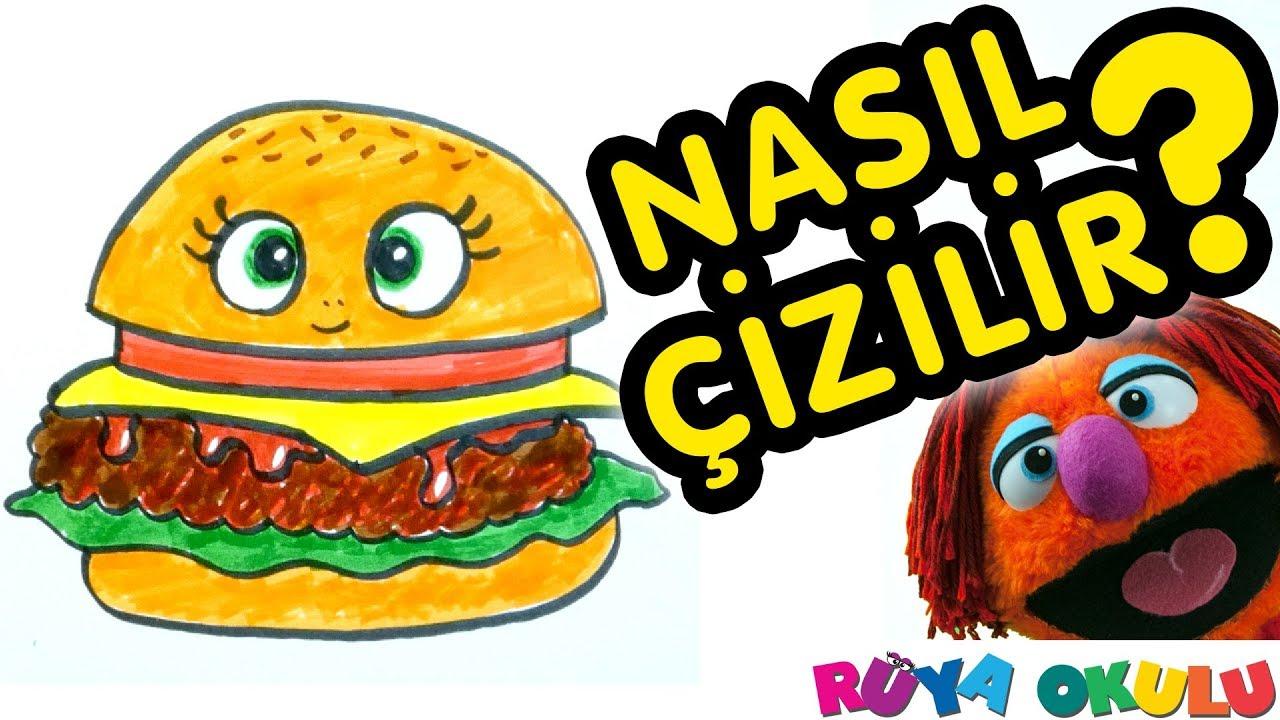Hamburger Nasıl Çizilir? - Burger - 🍔 - Çocuklar İçin Resim Çizme - RÜYA OKULU