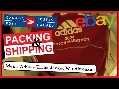 🇨🇦 Canada Post POV Packing & Shipping 📦 Men's Adidas Track Jacket Windbreaker 💰 EBay.ca Sales