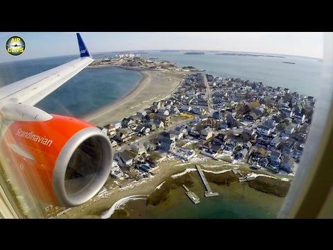 SAS Boeing B737-700 BBJ1 SCENIC Boston Landing after Transatlantic Crossing opb Privatair [AirClips]
