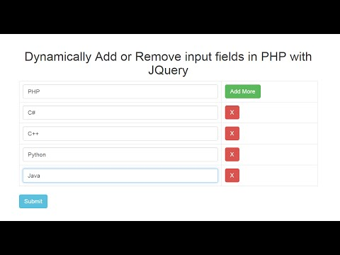 Dynamically Add Remove Input Fields In Php With Jquery