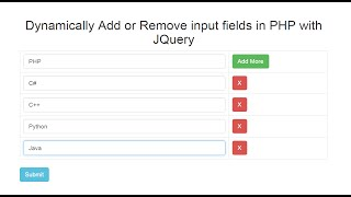 Dynamically Add / Remove input fields in PHP with Jquery Ajax