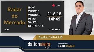 Radar (tarde) - IBOV, WINQ18, WDON18, PETR4, VALE3 e destaques | 21.6.18
