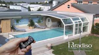Repeat youtube video Paradiso Schwimmbadüberdachung Modell VENEZIA mit eMotion Fahrantrieb