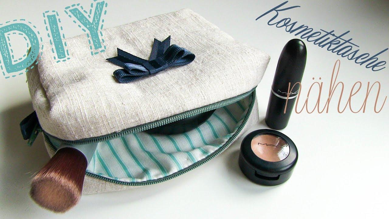 DIY Kosmetiktasche nähen + Schnittmuster Download ♥ - YouTube