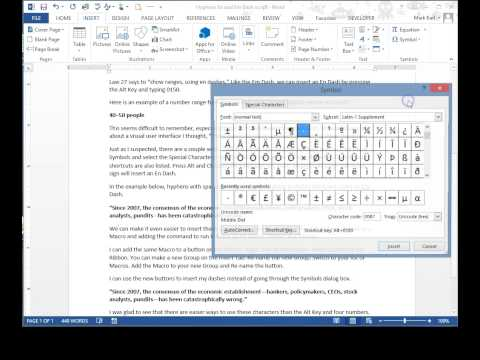 Hyphens, En And Em Dashes In Word