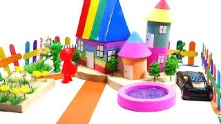 DIY How To Make Garden House ,Learn Colors Kinetic Sand W Pj masks toys