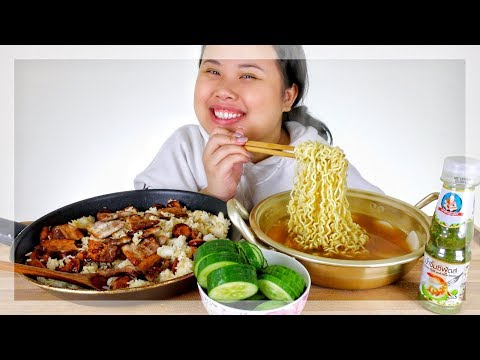 KOREAN RAMEN NOODLES + CAJUN SAUSAGE + RICE + CUCUMBERS | EATING SHOW