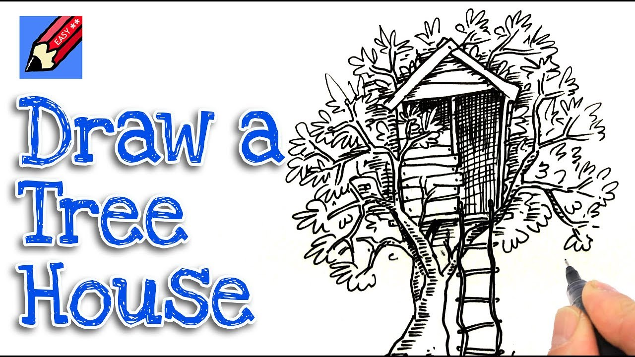 how to draw a treehouse step by step. Brilliant Draw Drawing Kidart Draw Inside How To Draw A Treehouse Step By P
