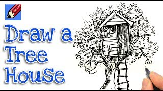 How to Draw a Treehouse Real Easy - Step by step