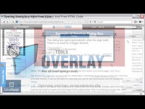 jQuery Overlay Tutorial For Dialog Box, Delayed Opening, With Free HTML