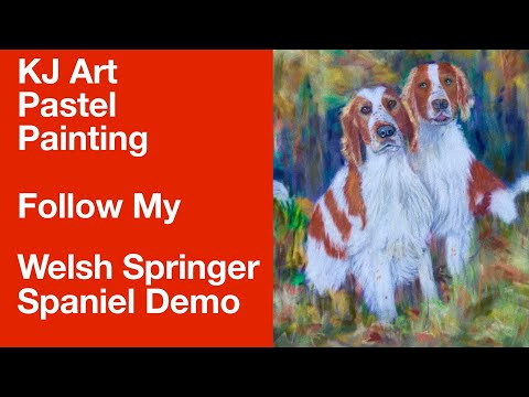 Pastel Painting Demo Welsh Springer Spaniel  on Velour