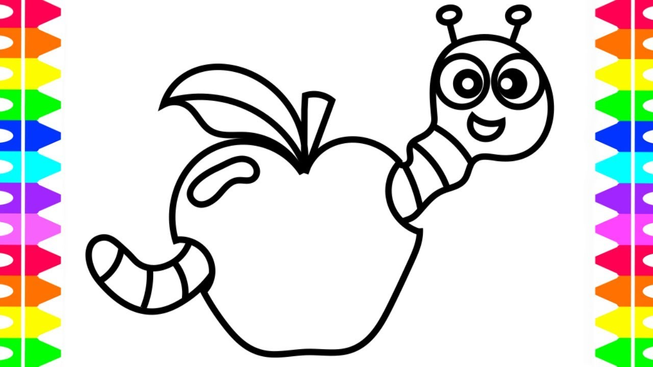 Learn How To Draw And Color Cute Cartoon Worm Eating Apple