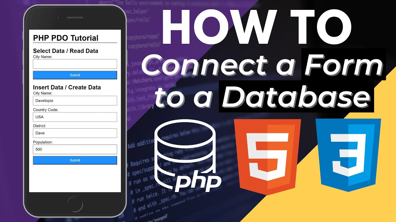 How to Connect a Form to a Database in PHP | PDO Tutorial