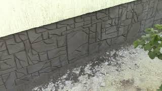 Как оформить цоколь дома под декоративный камень. Этап 1 Набиваем сетку. Штукатурим. Рисуем камни.