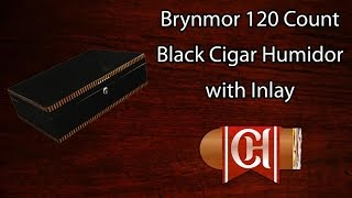 Brynmor 120 Count Black Cigar Humidor With Inlay