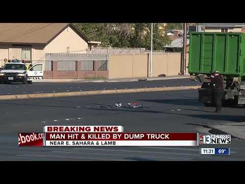 Man dies after hit by dump truck in Las Vegas