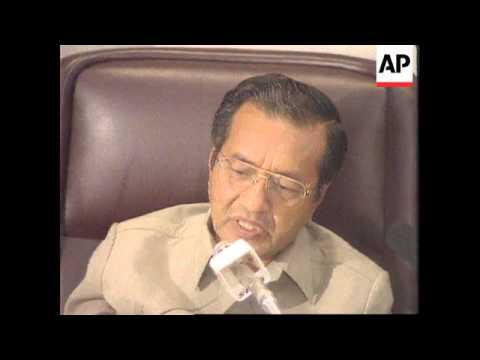 MALAYSIA: PRIME MINISTER MAHATHIR MOHAMAD BOSNIA CRITICISM